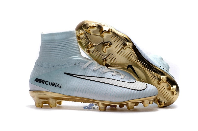 Chaussures De Football Nike Mercurial Superfly CR7 FG Blanc Or 2019 Nouveaux