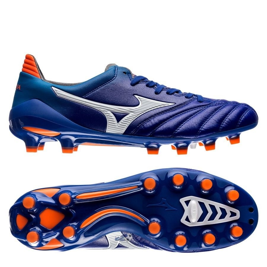 Chaussures De Football Mizuno Morelia Neo II Made in Japan FG Bleu Orange 2019 Nouveaux