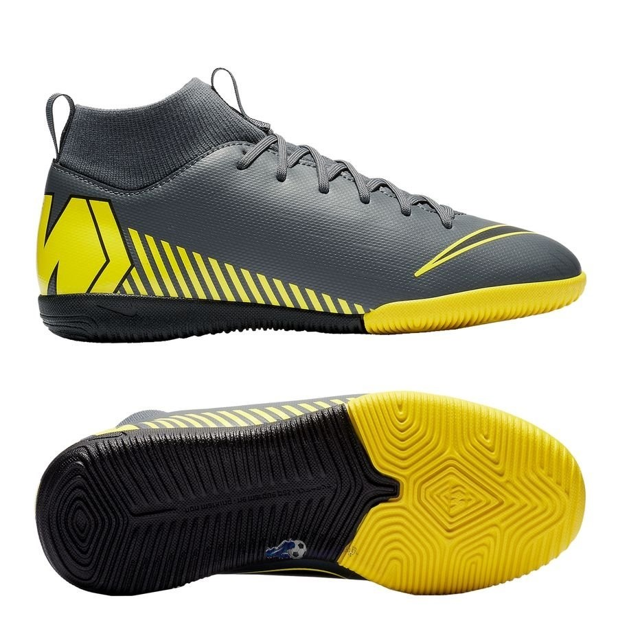 Chaussures De Football Nike Mercurial Superfly 6 Academy Enfant IC Game Over Gris Jaune 2019 Nouveaux