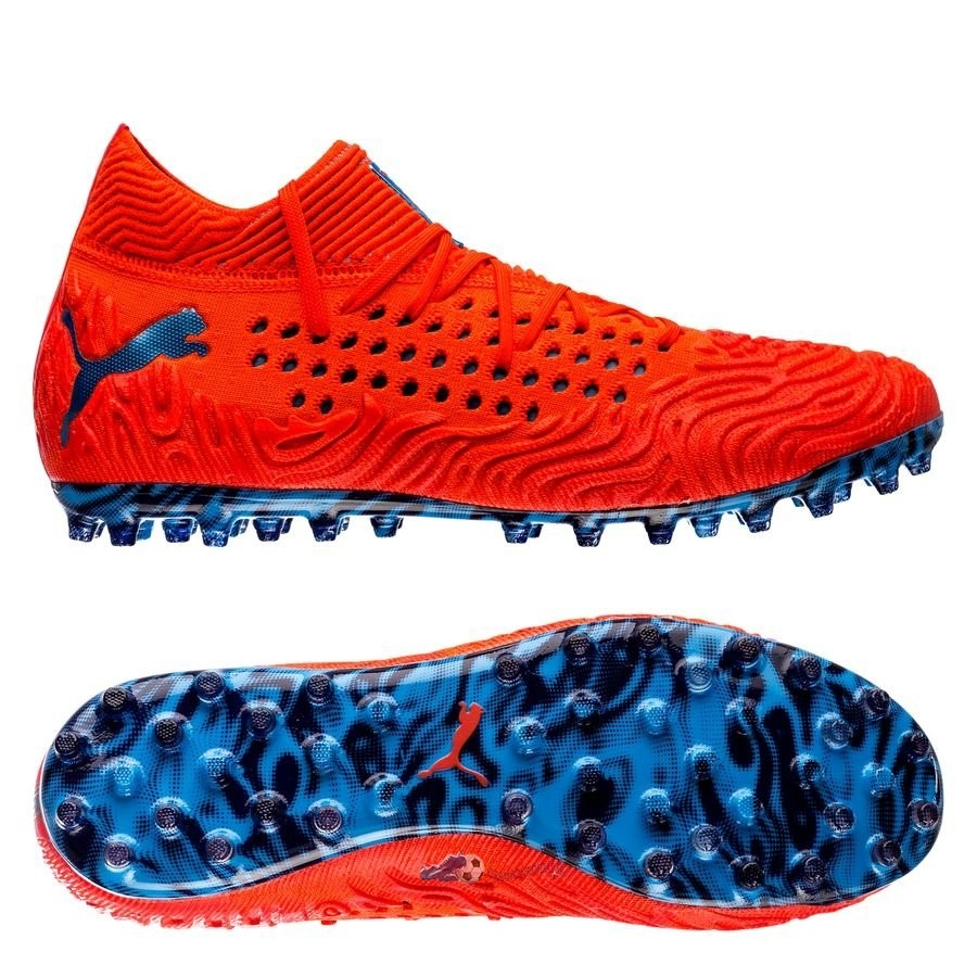 Chaussures De Football Puma Future 19.1 Netfit MG Power Up Rouge 2019 Nouveaux
