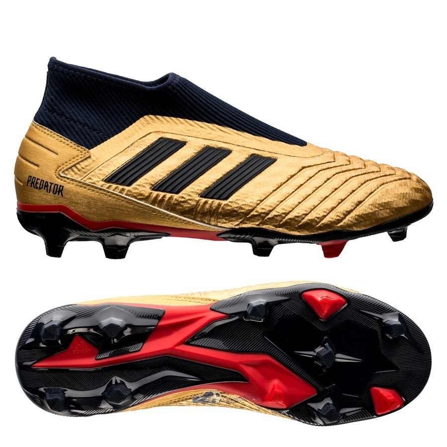 Chaussures De Football Adidas Predator 19.3 Laceless ZZ&DB Icon FG/AG Or 2020 Nouveaux