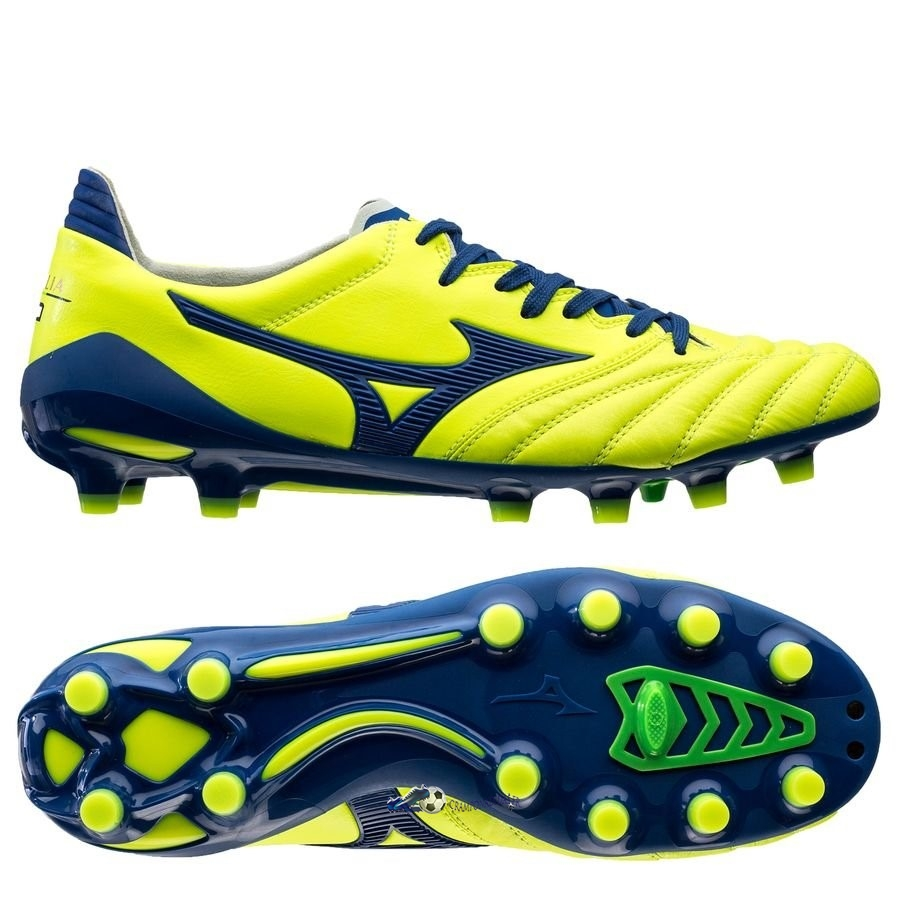 Chaussures De Football Mizuno Morelia Neo II Made in Japan FG Brazilian Spirit Jaune Bleu 2020 Nouveaux