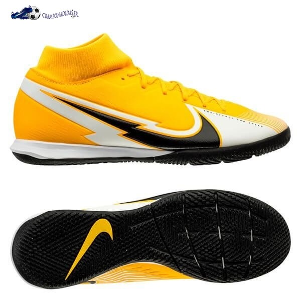 Chaussures De Football Nike Mercurial Superfly 7 Academy IC Daybreak Orange Noir Blanc 2020 Nouveaux